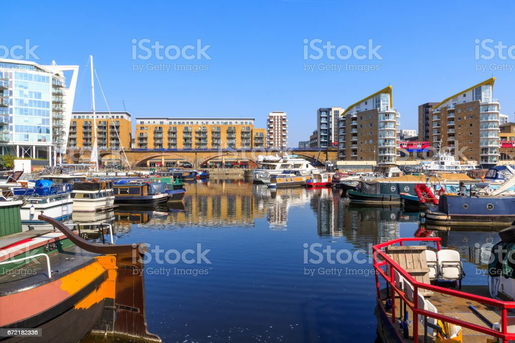 Boats moored at Limehouse Basin Marina stock photo