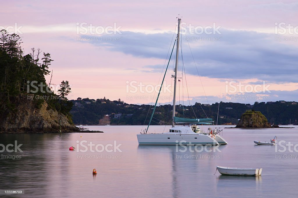 Boats moored at Russell stock photo