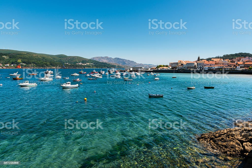 Boats moored in Corcubion port, Galicia stock photo