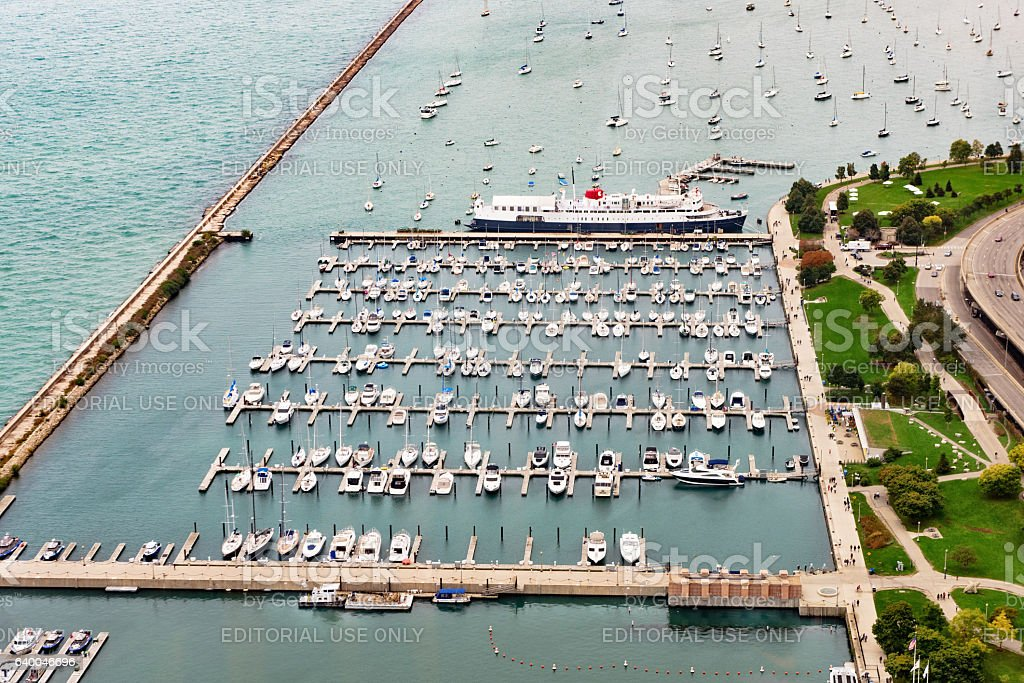 Boats moored in DuSable Harbor, Chicago stock photo
