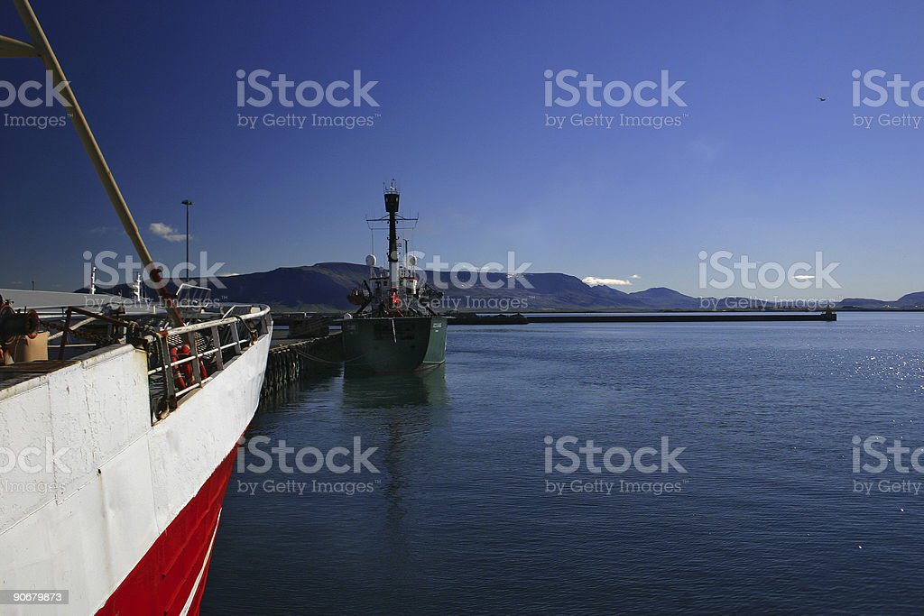 Boats Moored in Harbour royalty-free stock photo
