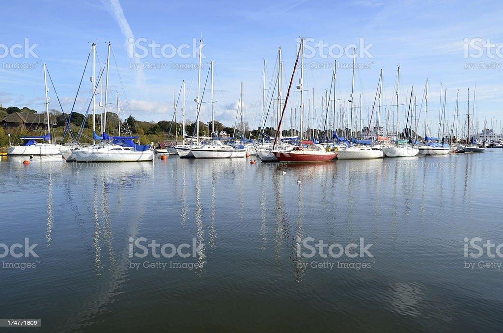 Boats Moored in Lymington stock photo