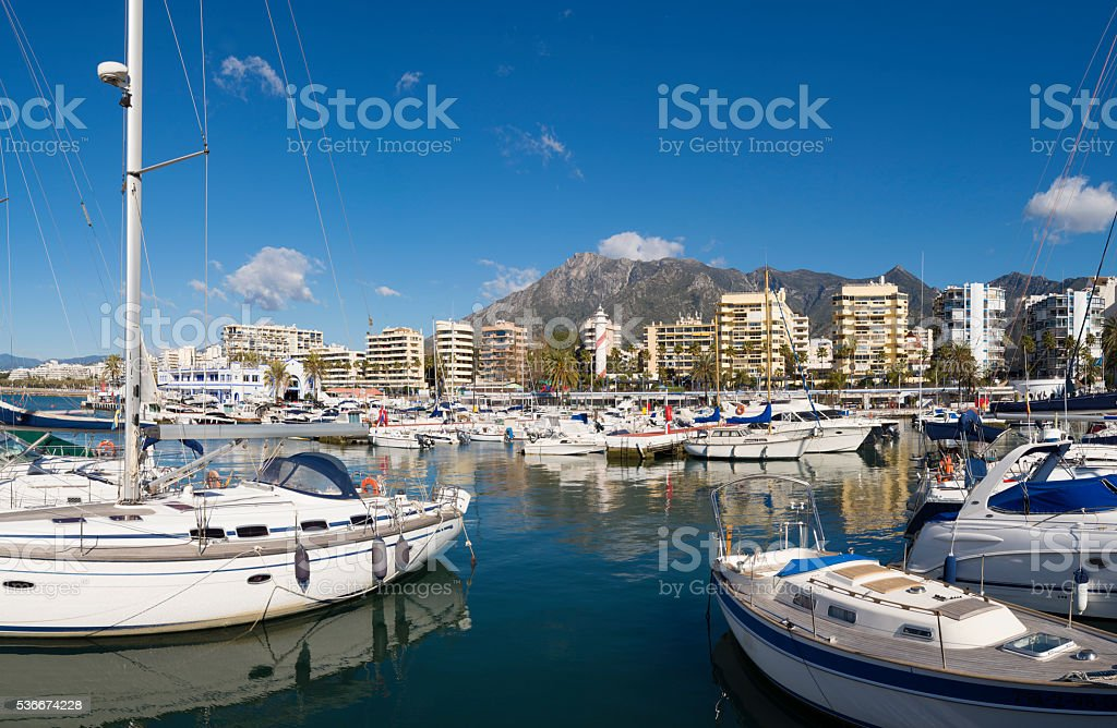 Boats moored in Marbella marina in Andalusia, Spain stock photo