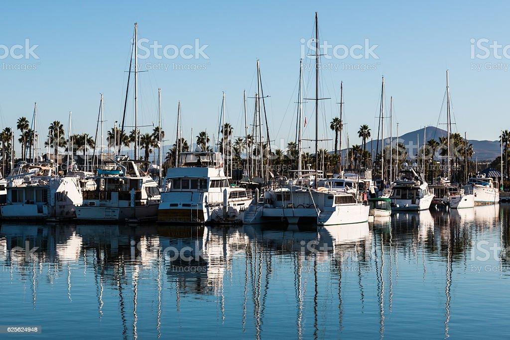 Boats Moored in Marina at Chula Vista Bayfront Park stock photo
