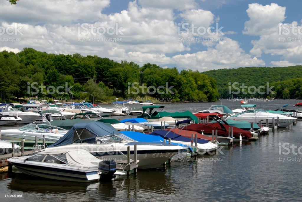 Boats Moored in Marina on Lake royalty-free stock photo