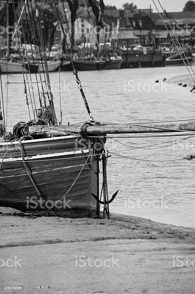 Boats moored on River Blackwater, Maldon, Essex stock photo