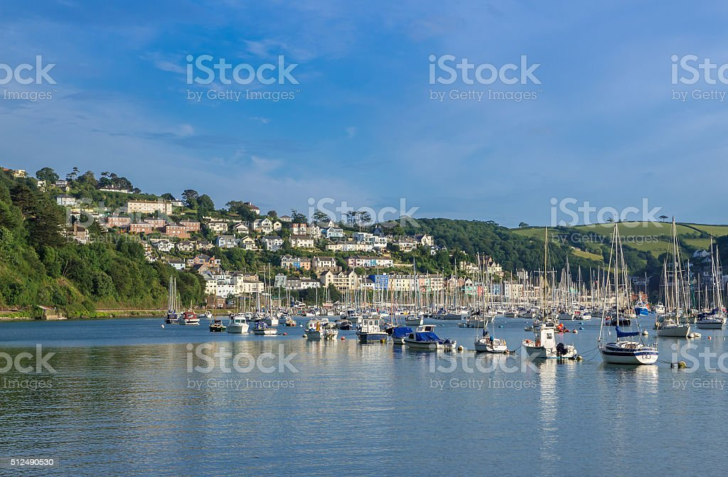 Boats Moored on the Dart Estuary at Kingswear and Dartmouth stock photo
