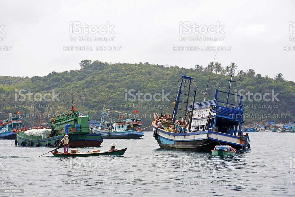 Boats near island just south of Phu Quoc stock photo