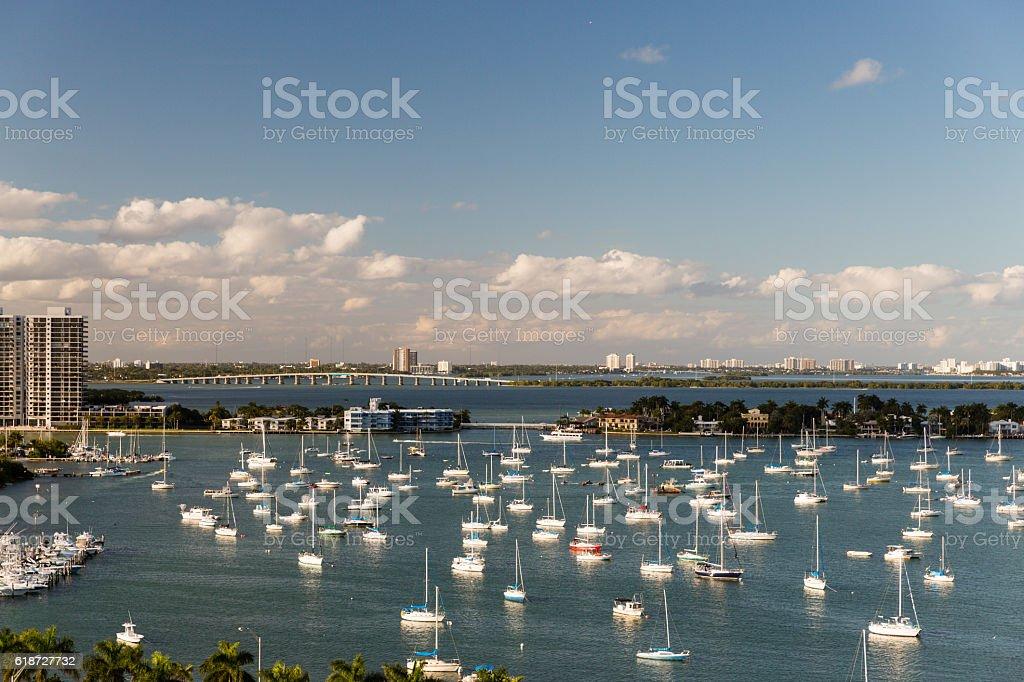 Boats near Star Island Miami stock photo