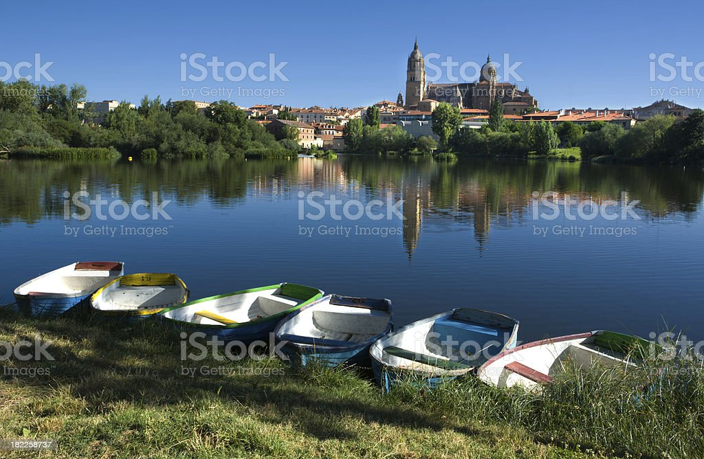 Boats next in front of Salamanca stock photo