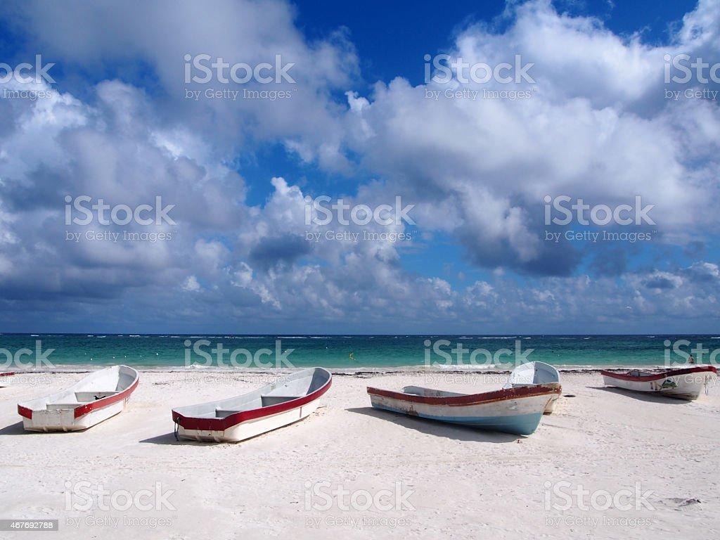 Boats of the Riviera Maya. stock photo