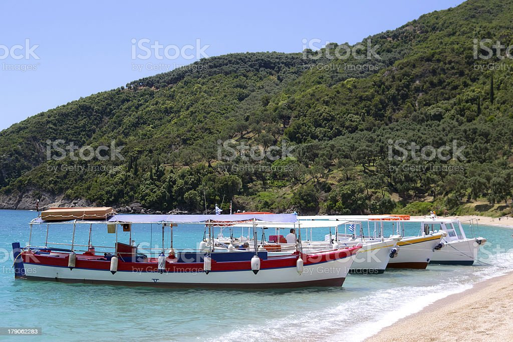 boats on a beach greece royalty-free stock photo