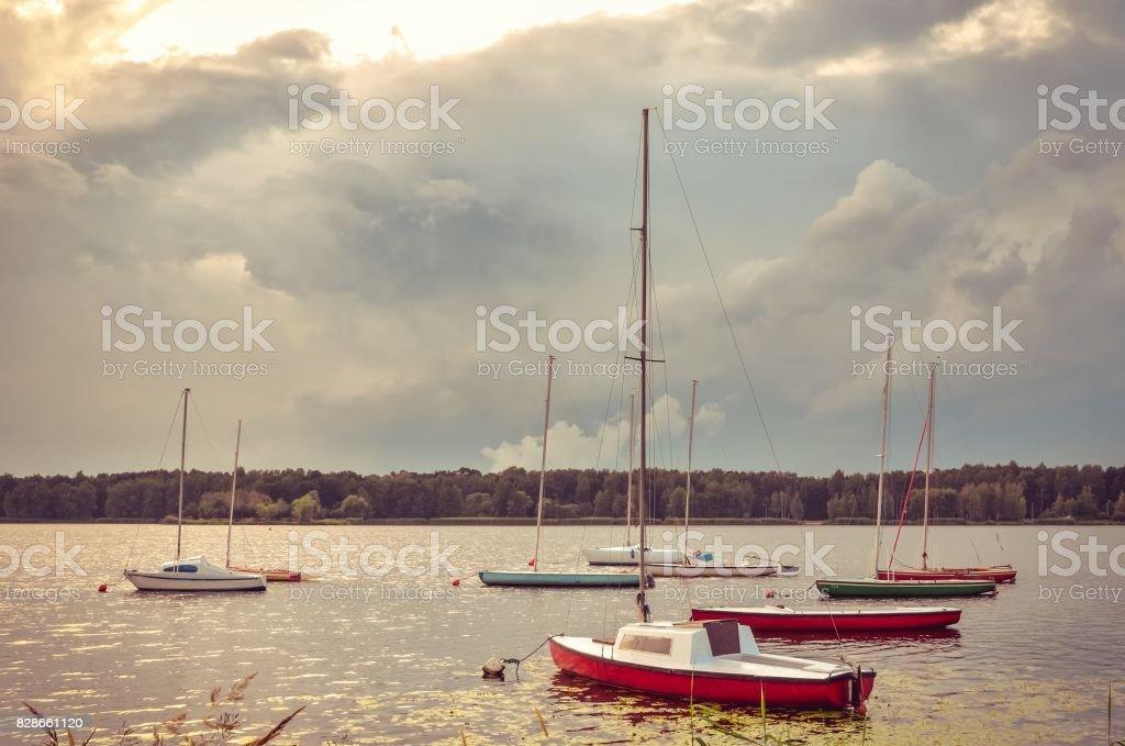 Boats on a beautiful lake. stock photo