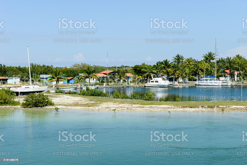 Boats on a harbour of Cayo Guillermo, Cuba stock photo