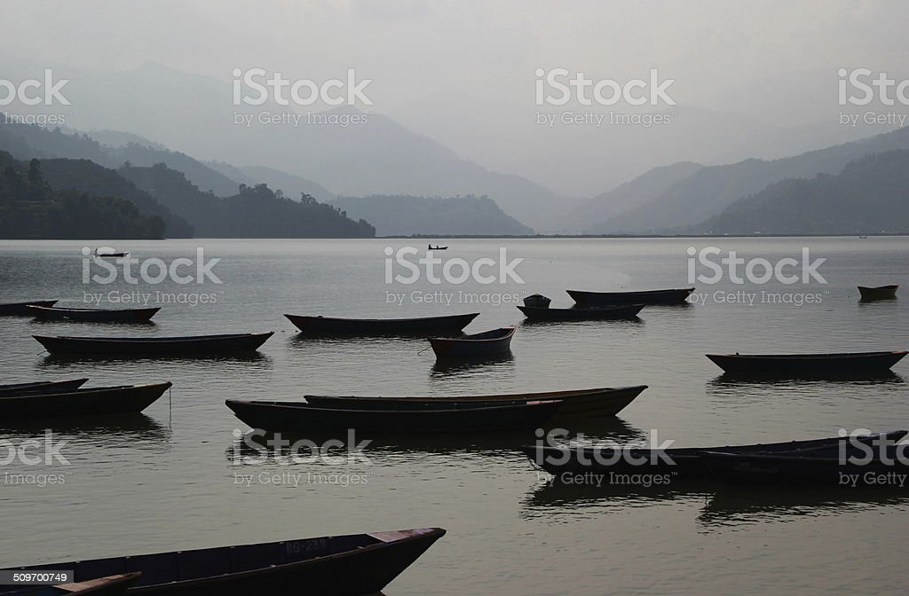 Boats on a Peaceful Lake stock photo