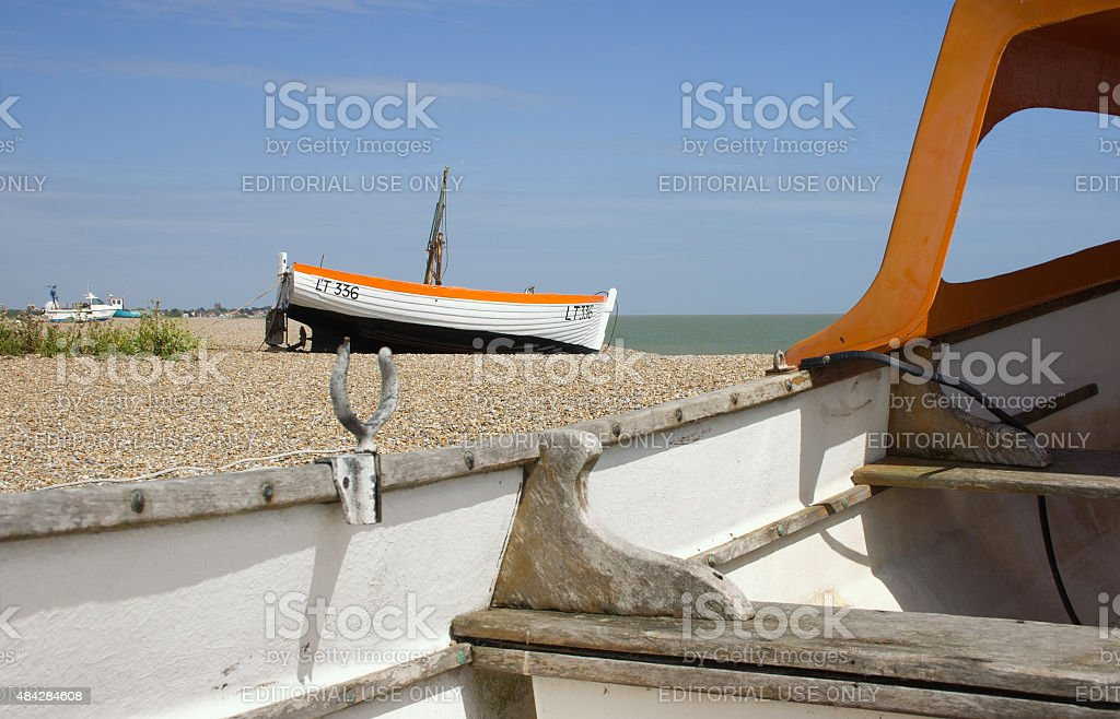Boats on Aldeburgh beach, Suffolk heritage coast, UK stock photo