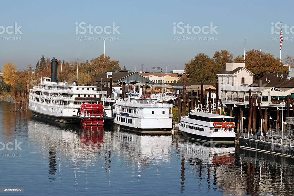 Boats on American River in Old Sacramento California stock photo