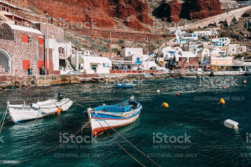 Boats on Ammoudi bay harbor, Oia, Santorini. stock photo