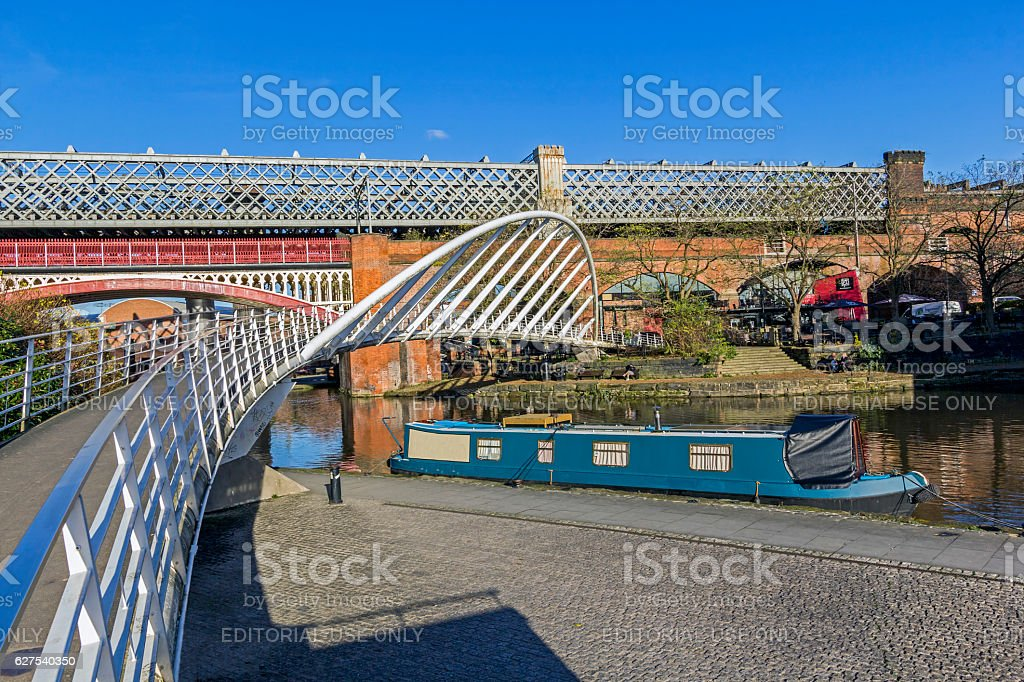 Boats On Canal Basin Castlefield Manchester stock photo