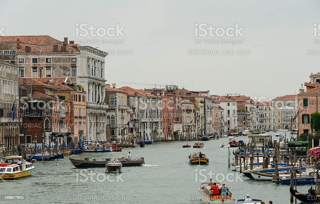 Boats on canal grande near Rialto bridge royalty-free stock photo