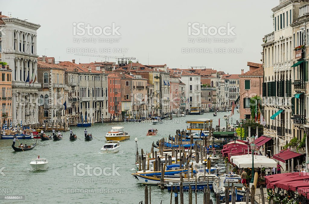 Boats on canal grande near Rialto bridge royalty-free stock photo