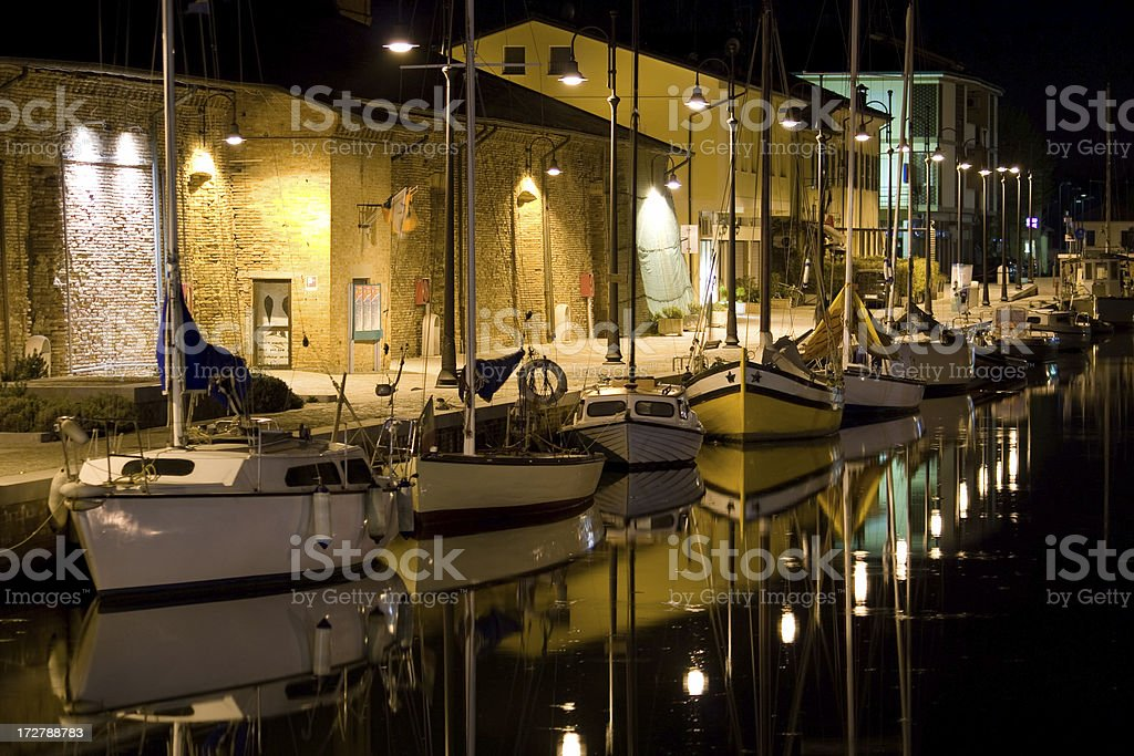 Boats on canal royalty-free stock photo