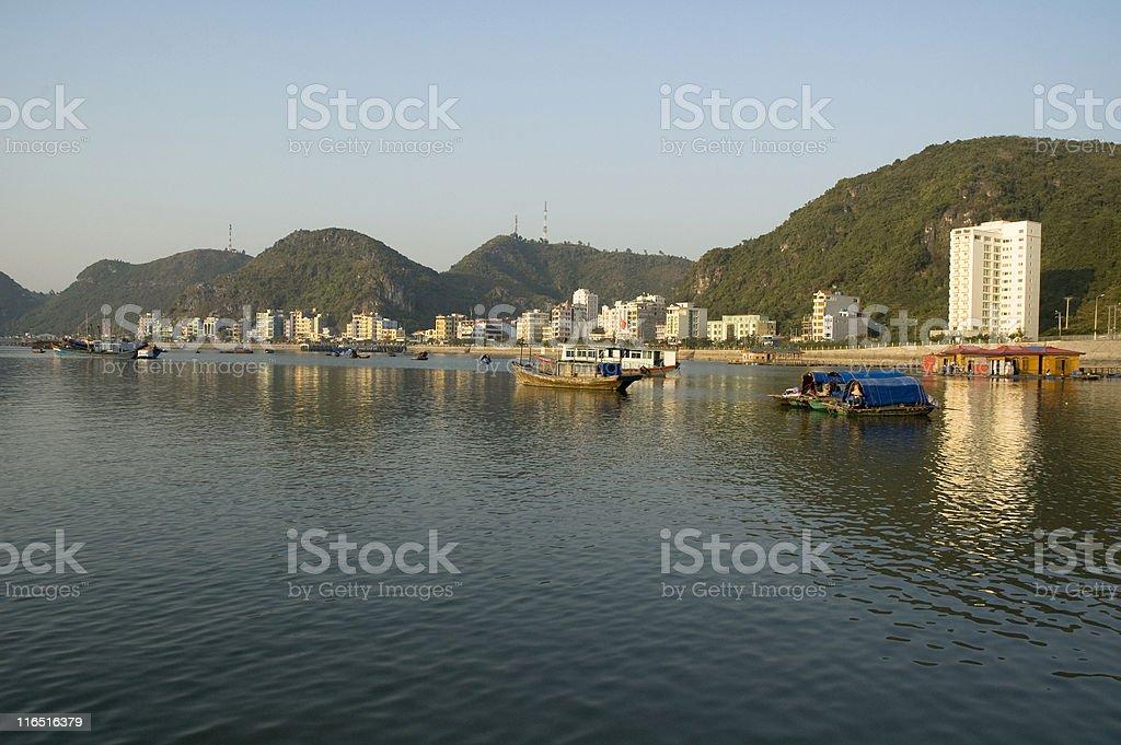 Boats On Cat Ba Island In Halong Bay, Vietnam stock photo