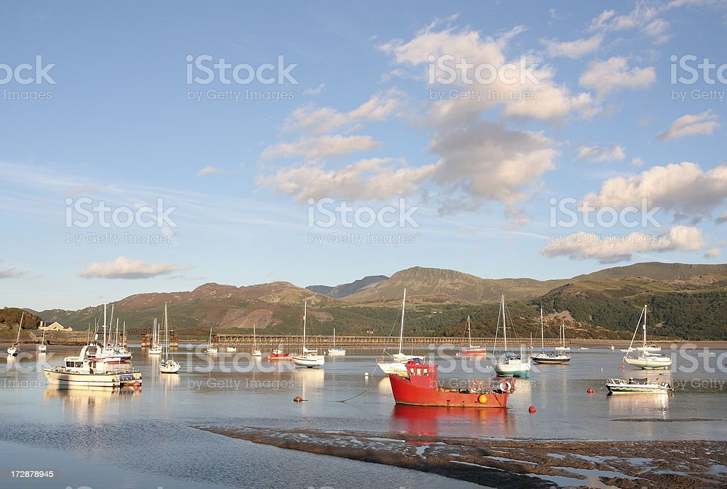 Boats on Estuary in Wales Snowdonia stock photo