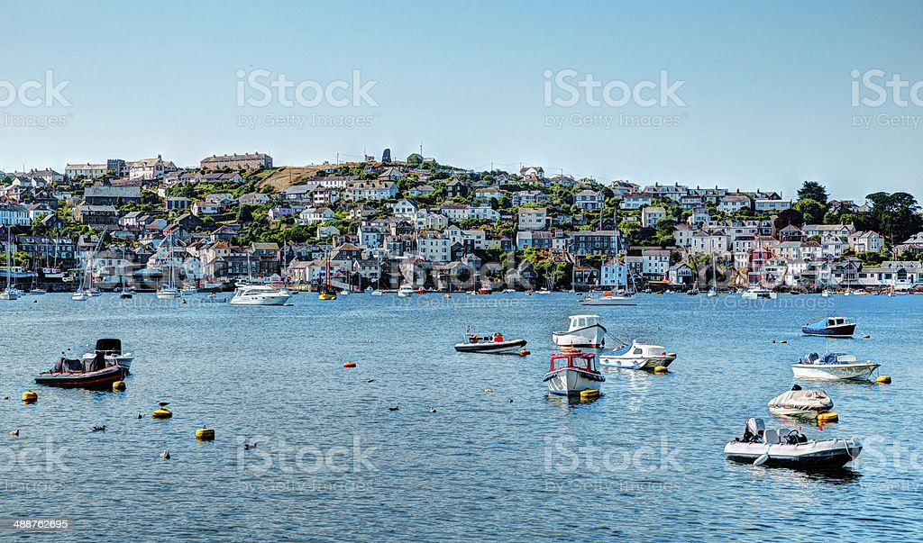 Boats on Fowey River Cornwall in colourful HDR stock photo