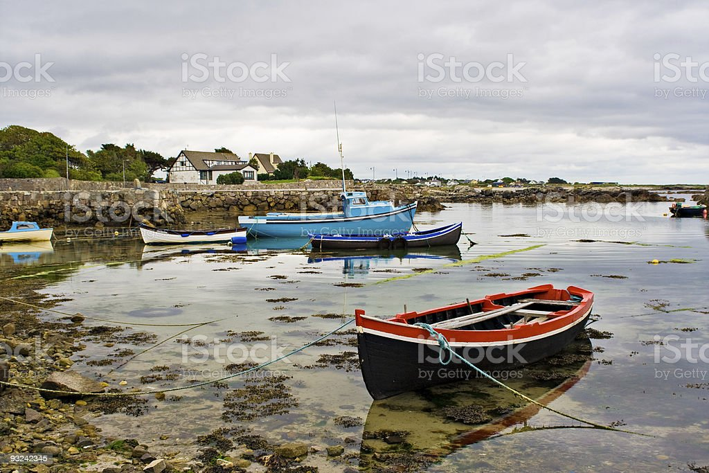 Boats on Galway Bay stock photo