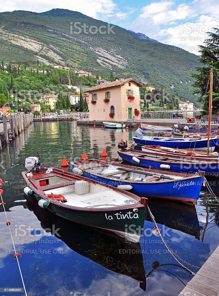 Boats on Garda lake, Italy stock photo