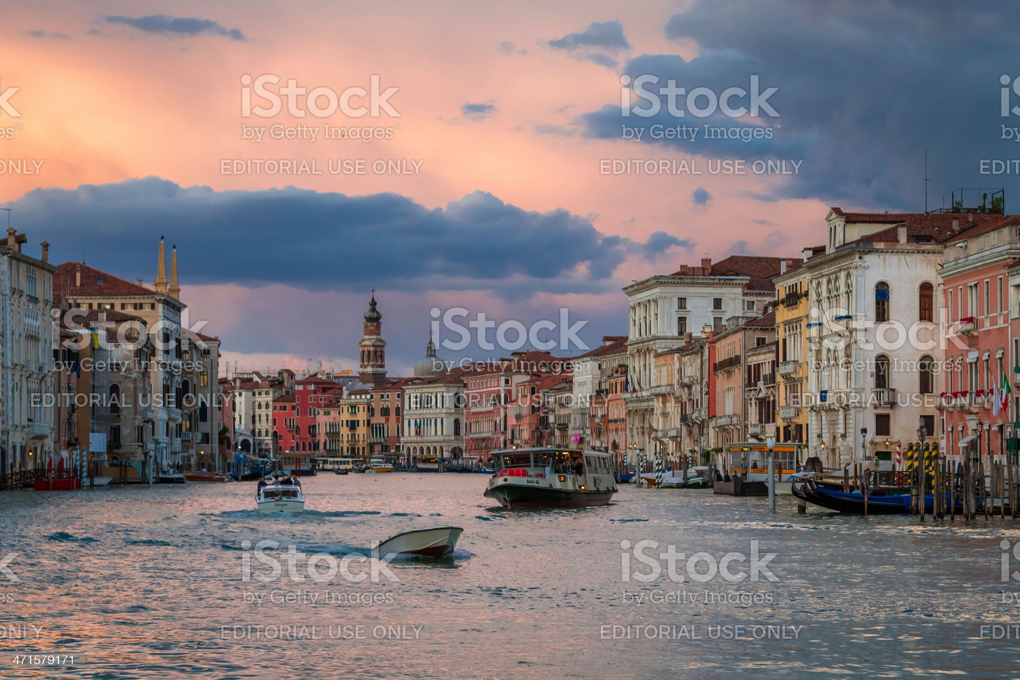 Boats on Grand Canal at Sunset, Venice royalty-free stock photo