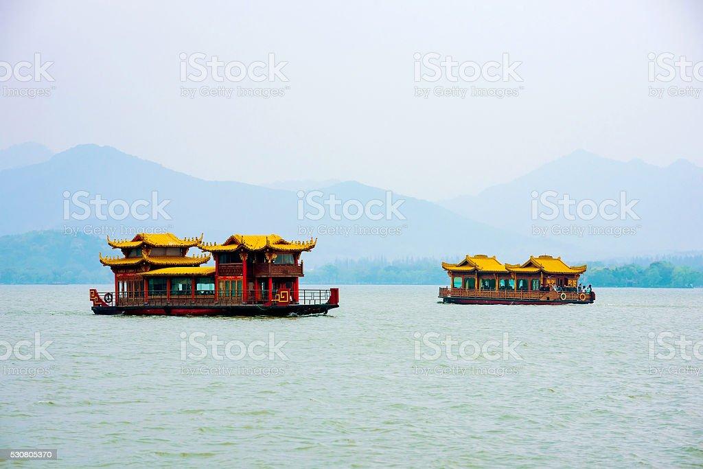 Boats on Hangzhou West Lake stock photo