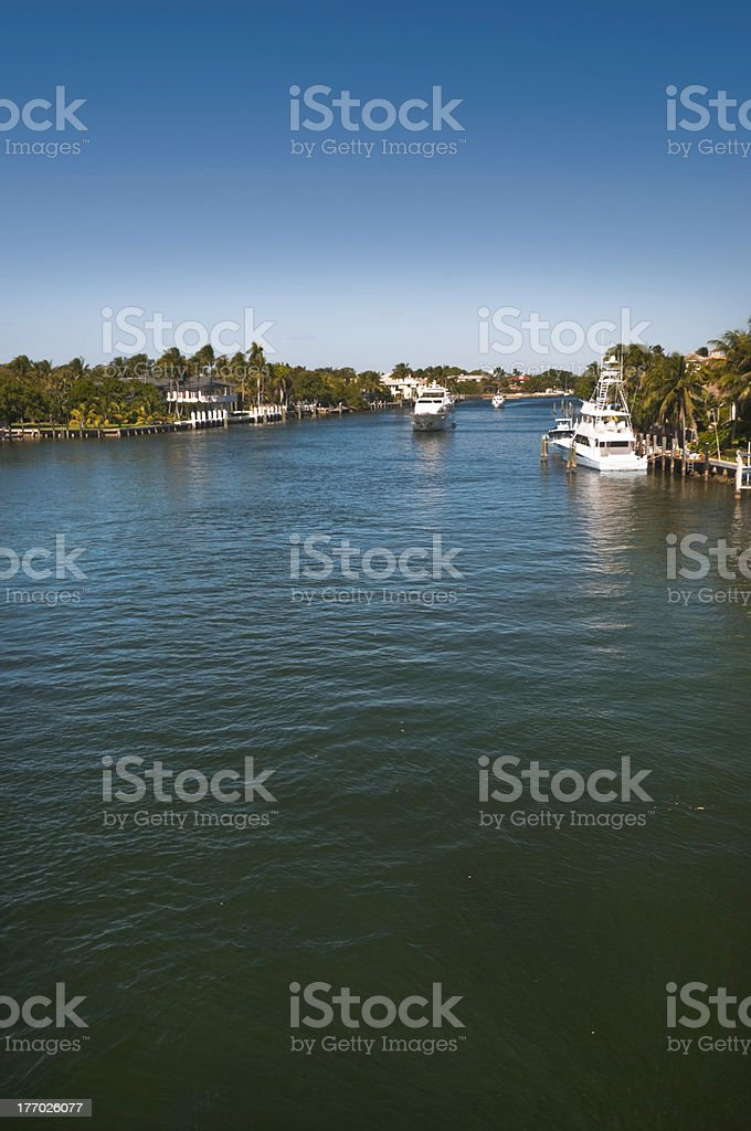 Boats on intacoastal waterway near Boca Raton, Florida, USA stock photo