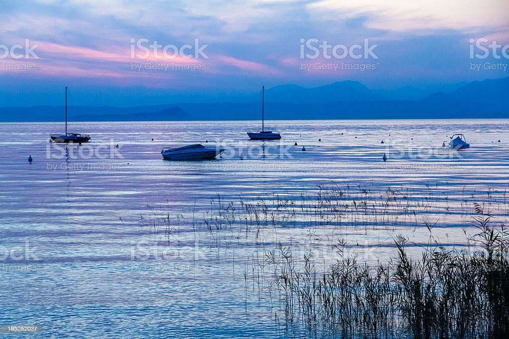 Boats on Lake Garda, Italy royalty-free stock photo