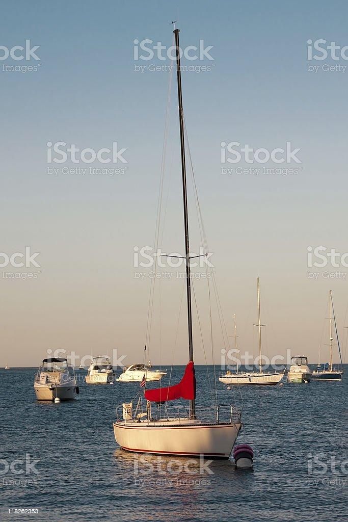 Boats on Lake Michigan stock photo