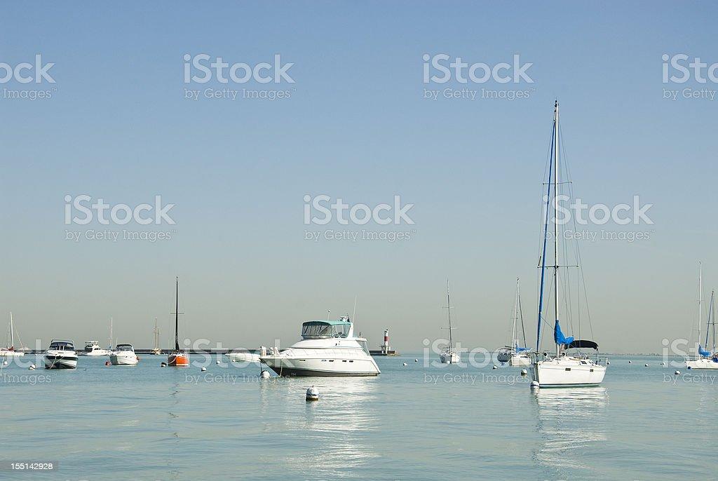 Boats on Lake Michigan royalty-free stock photo