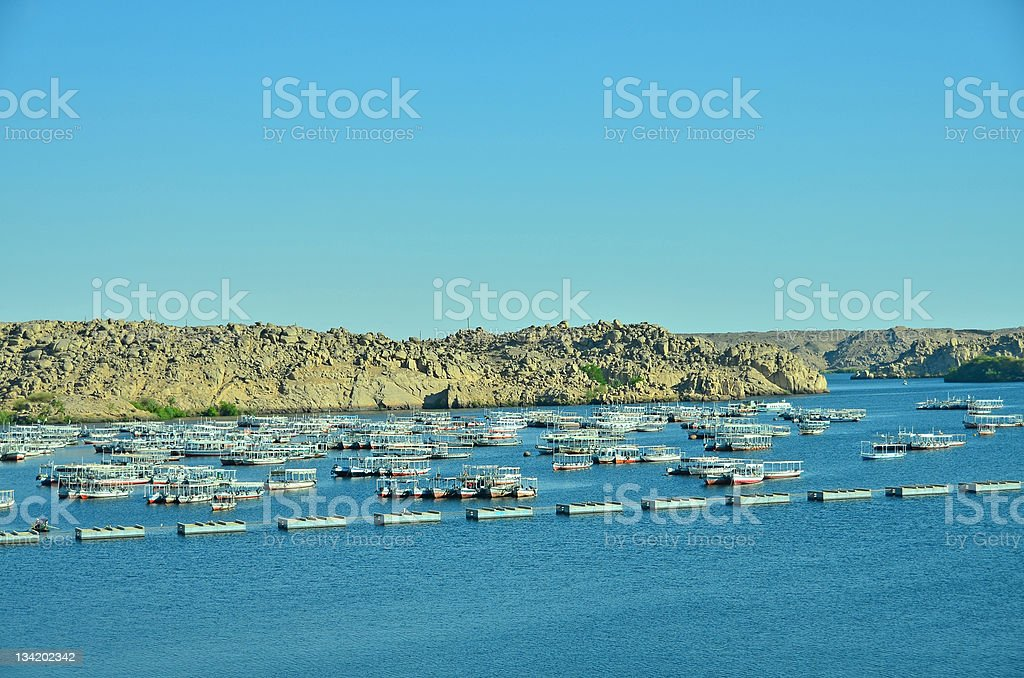 Boats on Lake Nasser in Egypt stock photo