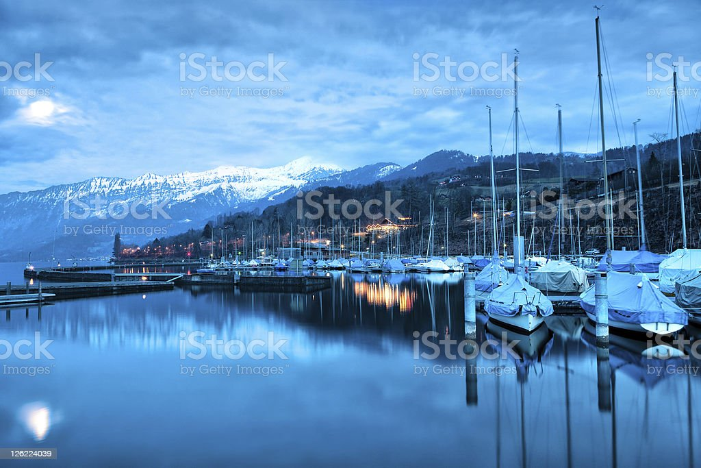 Boats on Lake Thun. royalty-free stock photo