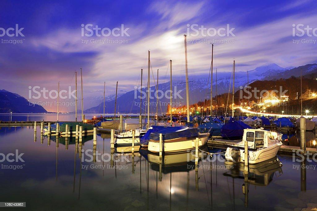 Boats on Lake Thun. royalty-free stock photo