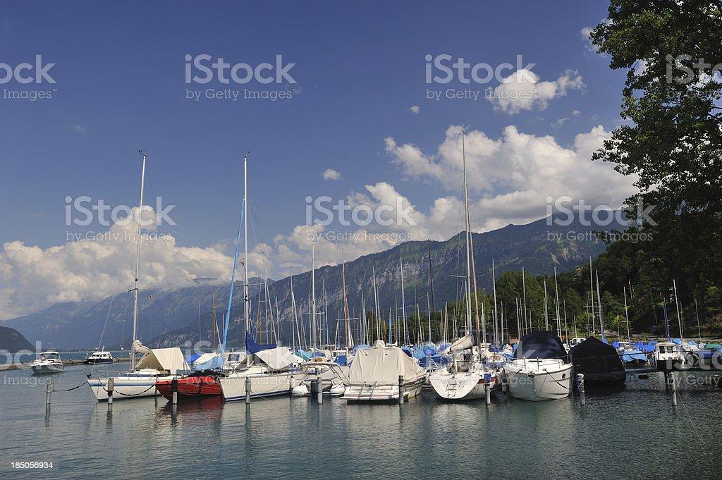 Boats on Lake Thun stock photo