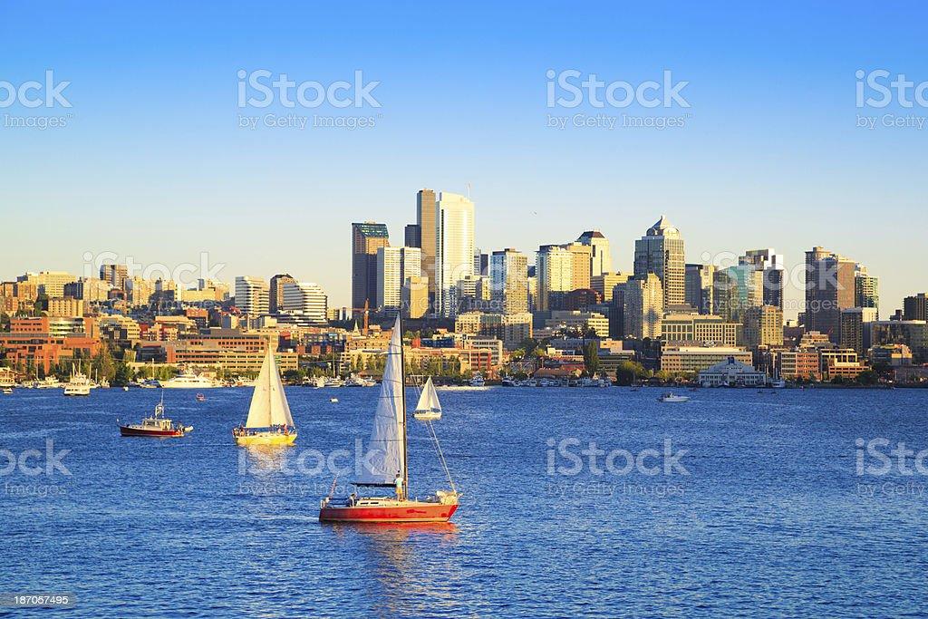 Boats on Lake Union, Seattle royalty-free stock photo