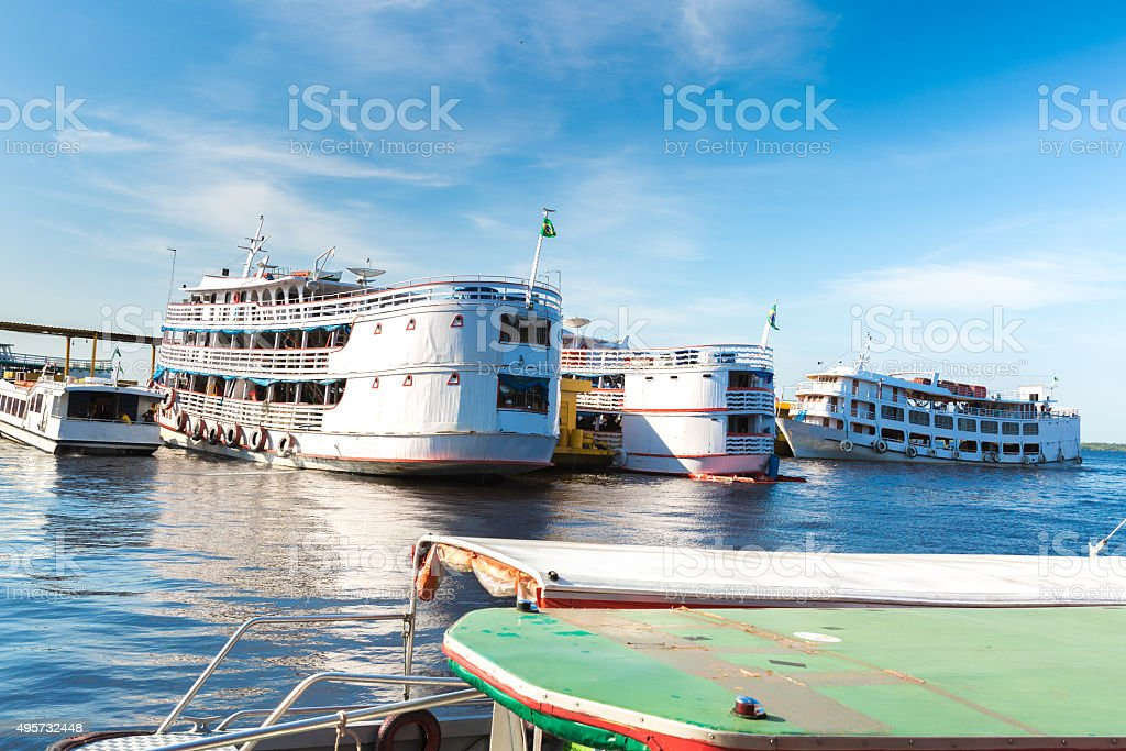 Boats on Manaus Harbor, Brazil stock photo