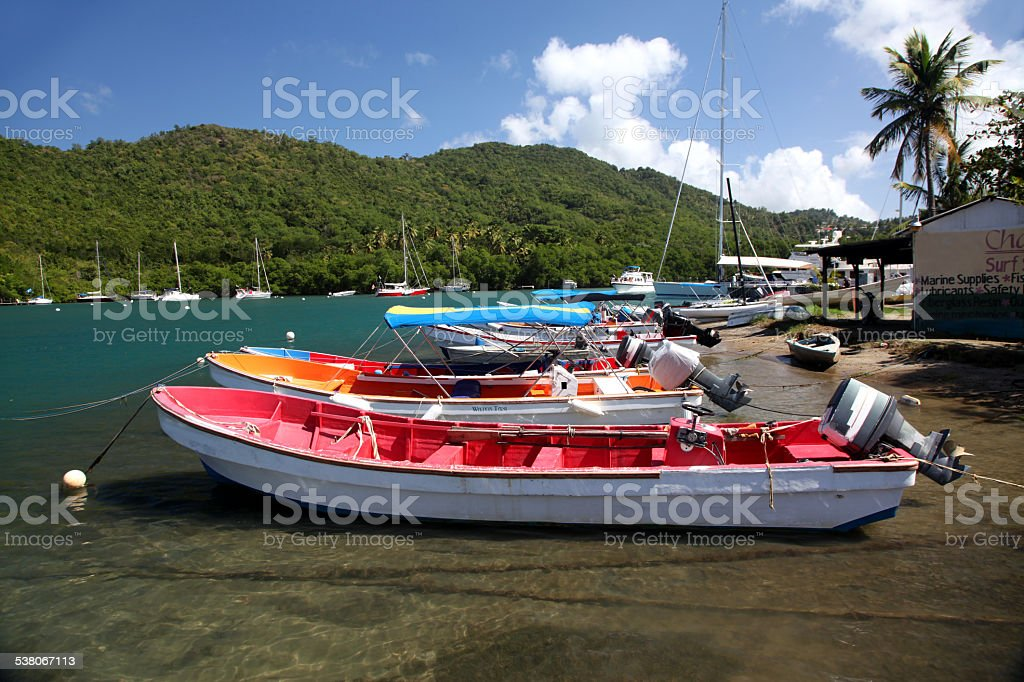 Boats on Marigot Bay stock photo
