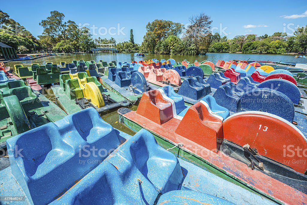 Boats on Palermo Woods in Buenos Aires, Argentina. royalty-free stock photo
