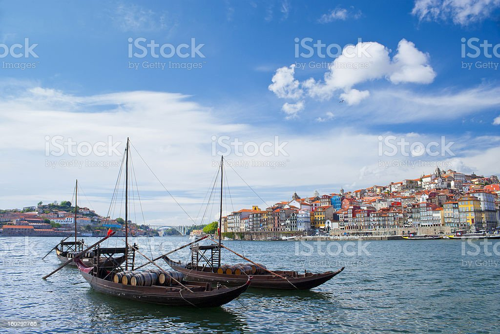 Boats on river Douro in Porto city at daytime royalty-free stock photo
