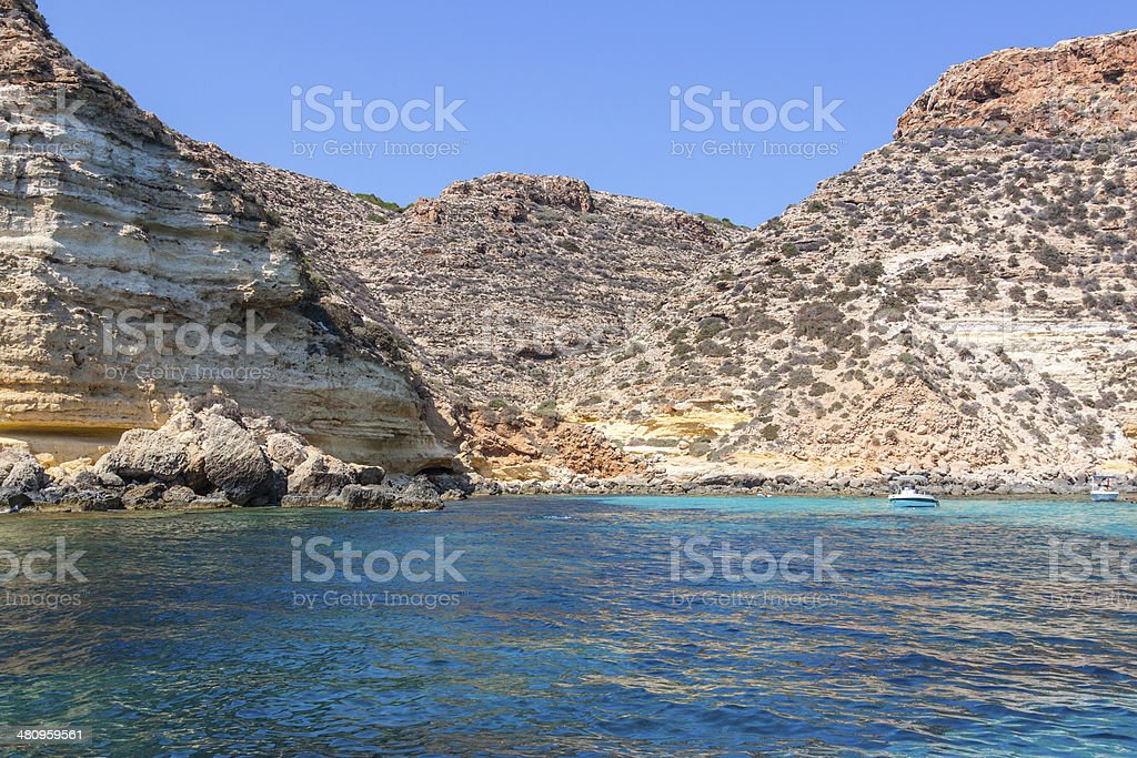boats on sea of Lampedusa stock photo
