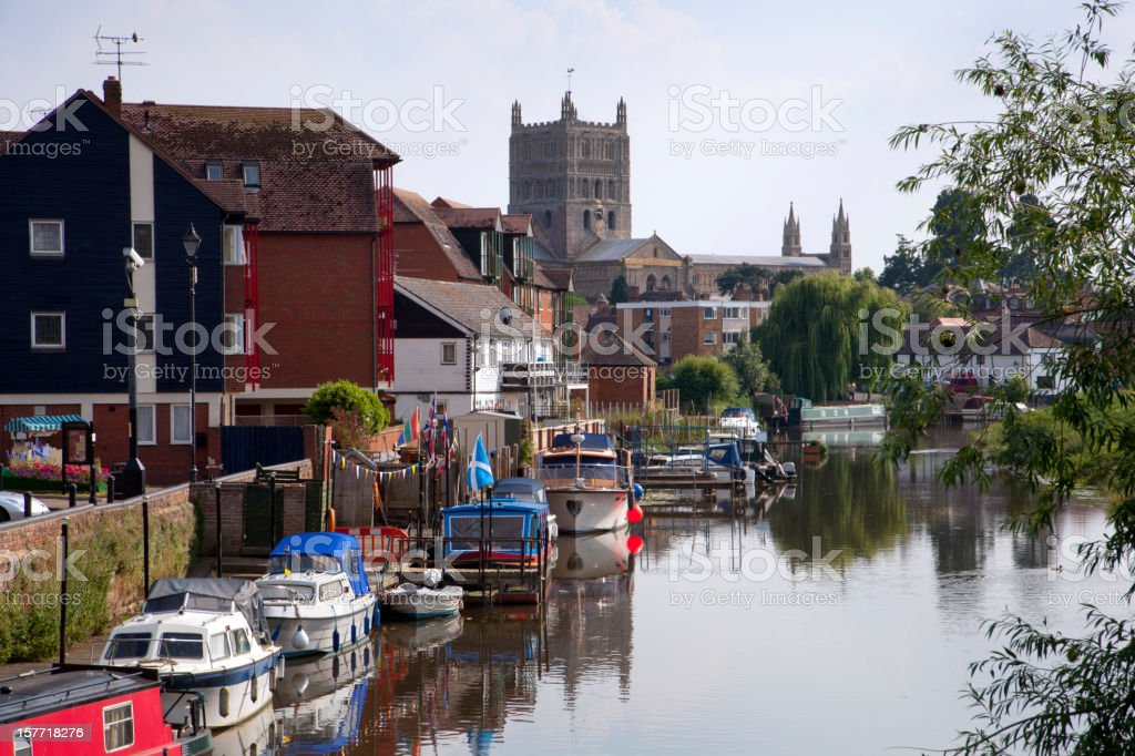 Boats on the Avon Navigation, Tewkesbury town centre, Gloucestershire, UK stock photo