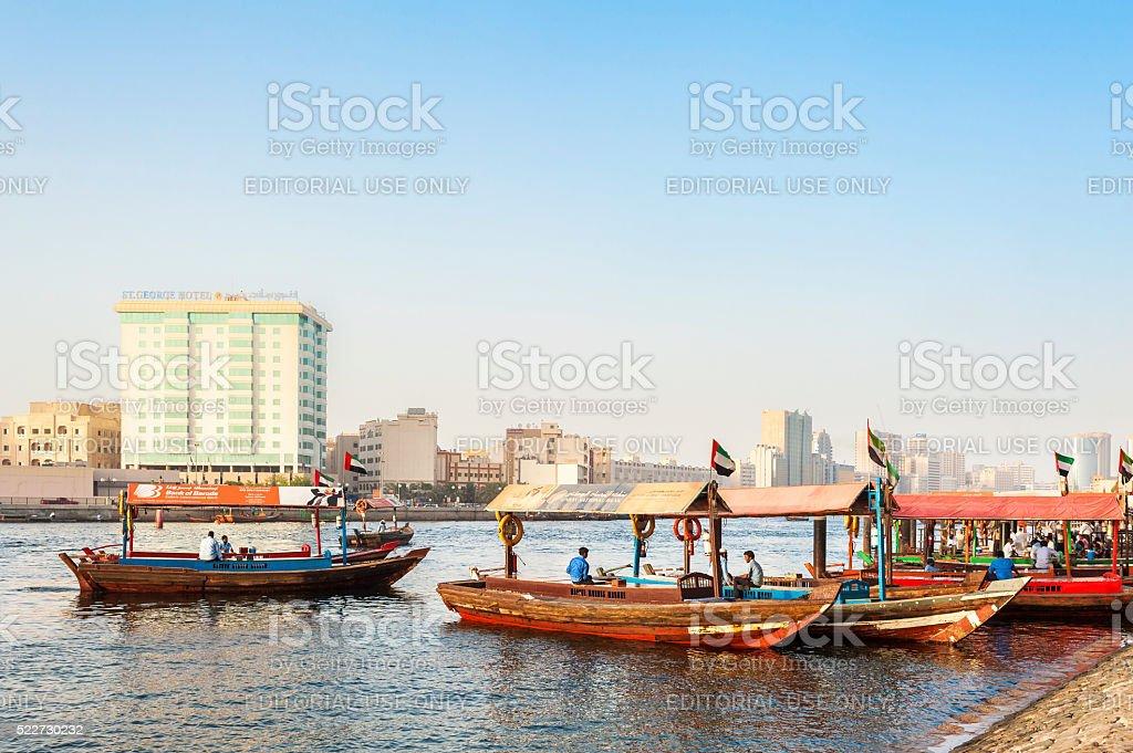 Boats on the Bay Creek in Dubai, UAE stock photo