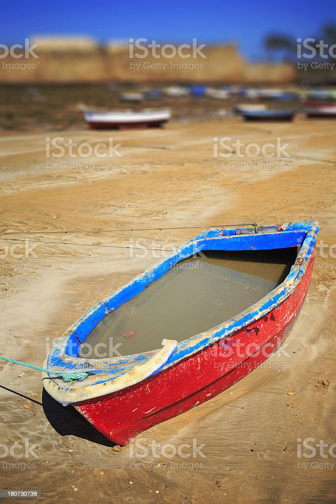 boats on the beach royalty-free stock photo